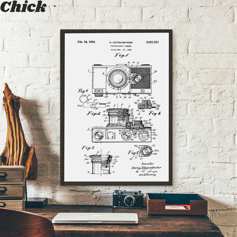 Camera Patent Vintage Poster Canvas Art Prints , Retro Camera Blueprint Photo Wall Art Canvas Painting Photography Decoration image