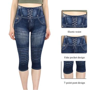 Sexy Faux Jeans Leggings Women Stretch Printed Short Leggins Plus Size Calf-Length Pants Summer Breeches High Waist Jeggings