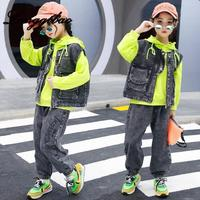 Baby Girl Suit 2019 Autumn New Big Boy Korean Fashion Sweater Denim Vest Jeans 3 Piece Set of Kids Clothes Girls Kids Costume