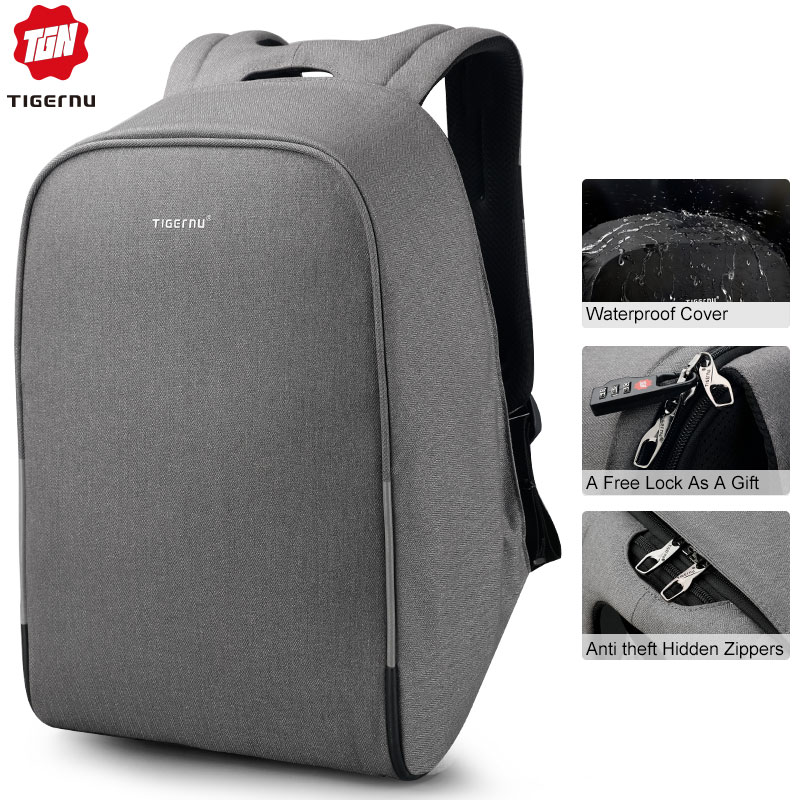 Tigernu anti roubo 15.6 polegada mochilas portáteis com capa de chuva casual casca dura das mulheres dos homens mochilas escolares para adolescentes