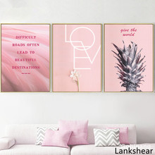 Pink Pineapple Flower Motivational Quote Wall Art Canvas Painting Nordic Posters And Prints Pictures For Living Room Home