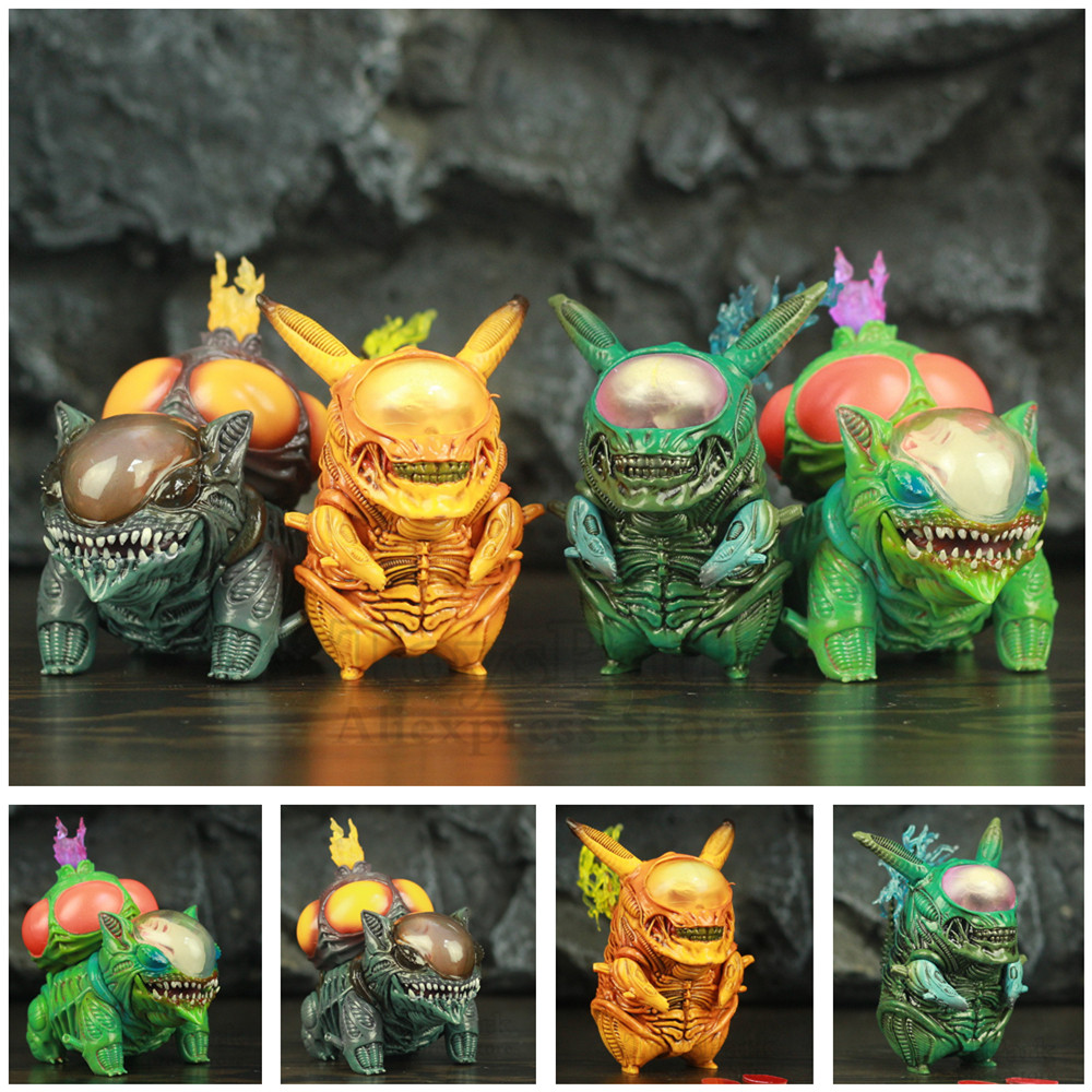COOL! Alien Pika & Bulbasaur 8.5cm PVC Funny Figure PKM Mix Xenomorph Warrior Aliens VS Predator AVP Cute Q GAME FREAK Toys Doll