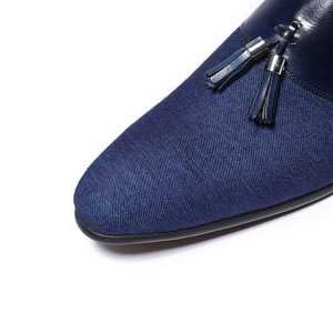 Image 5 - Spring Autumn Mens Dress Shoes Denim Stitching Genuine Leather Wedding Party Banquet Formal Men Blue Loafers With Tassel