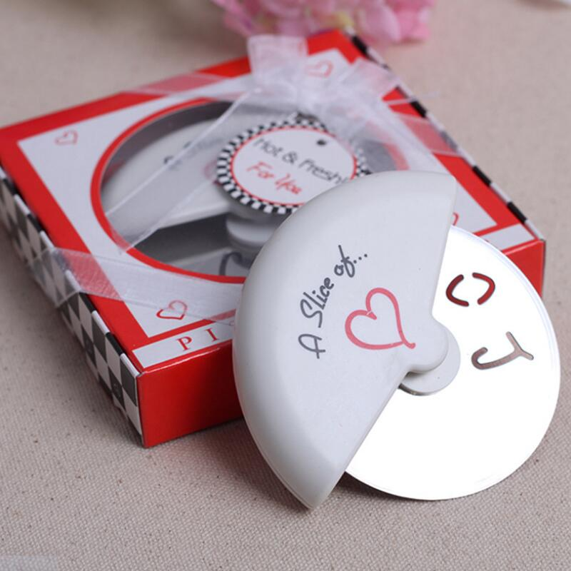 Wholesale 100 Slice of Love Stainless Steel Pizza Cutter novelty <font><b>wedding</b></font> <font><b>favors</b></font> <font><b>and</b></font> <font><b>gifts</b></font> Free shipping LX7836 image