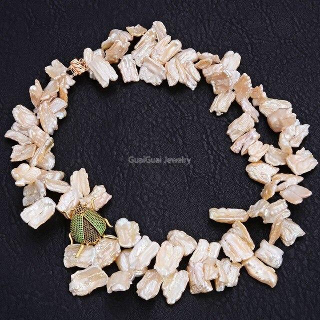 GuaiGuai ювелирное изделие, 2 нити, розовое жемчужное ожерелье в стиле «кэши барокко», CZ кулон в виде насекомого, Женские Ювелирные изделия