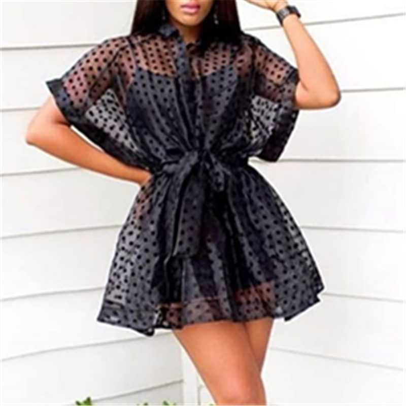 Black Two Pieces Set Transparent Mini Loose Shirt Dress Spaghetti Strap Camisole Polka Dot See Through With Sashes Sexy Women