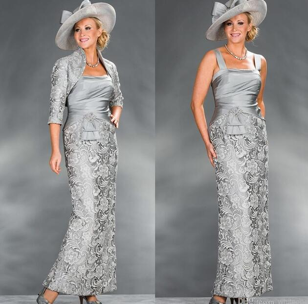 Elegant 2019 Mother Of The Bride Dresses Sheath Lace Beaded With Jacket Plus Size Groom Long Mother Dresses For Wedding