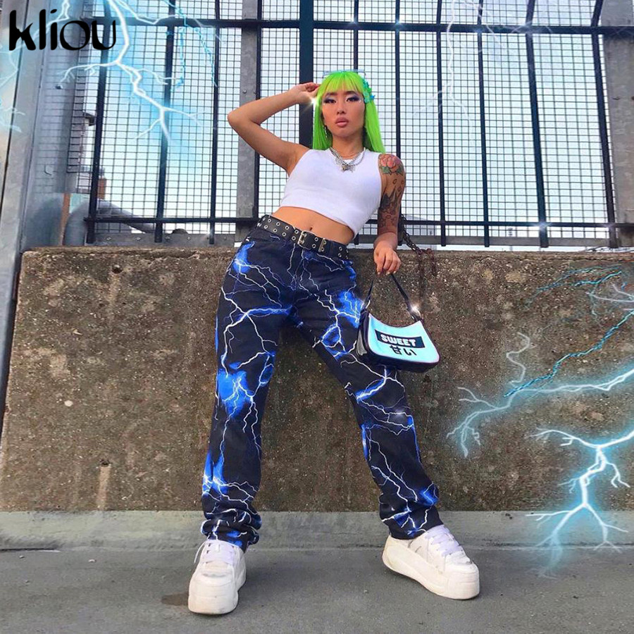 Kliou Autumn Streetwear Women's Pants Print Casual Cargo Pants Women Joggers Pockets Trousers High Waist Loose Female Pants