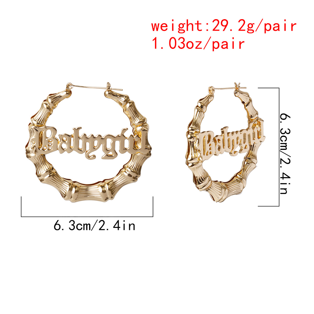 Round Circle Bamboo Hoop Earrings for Women Hollow Letter Babygirl Gold Silver Color Vintage Earring 2020 Punk Oversize Brincos