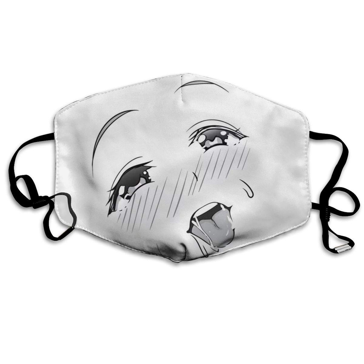 Mouth Mask Ahegao Face Black Print Masks - Breathable Adjustable Windproof Mouth-Muffle, Camping Running For Women And Men