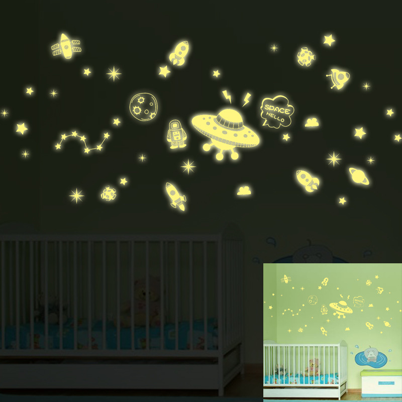 Luminous Universe UFO Alien Wall Stickers Stars Art Design Stickers For Kids Room Home Decoration Wall Decals Glow In The Dark