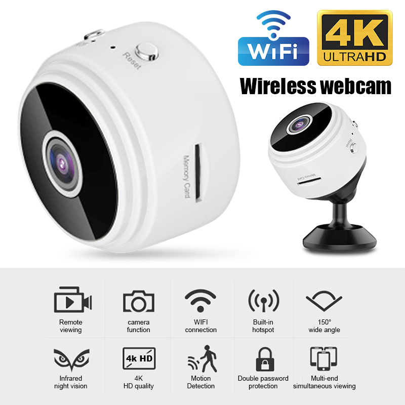 A9 4K/1080P Wifi Mini Camera Home Security P2P Camera WiFi Night Vision Wireless Surveillance Camera, Remote Monitor Phone App