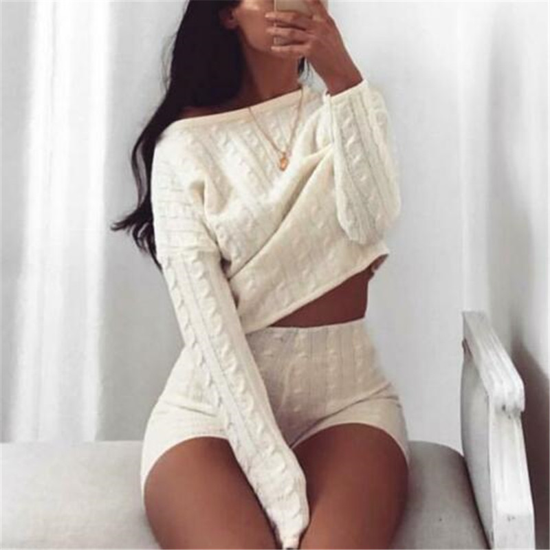 New Women Cable Knit Crop Top Lounge Wear Suit Ladies Co Ord 2pcs Tracksuit Set Lounge Wear Solid Crop Top Shirts Shorts Pants