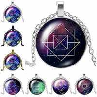 2019 nuevo creativo galaxia estrellada regla geométrica cadena regalo vidrio convexo redondo colgante collar joyería de moda