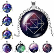 2019 New Creative Galaxy Starry Rule Geometric Chain Gift Glass Convex Round Pendant Necklace Fashion Jewelry