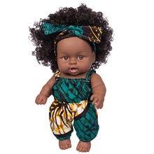 Realista 8-Polegada vinil kawaii africano preto bebê menina boneca bonito preto encaracolado cabelo brinquedo do bebê crianças presente de aniversário festival presente