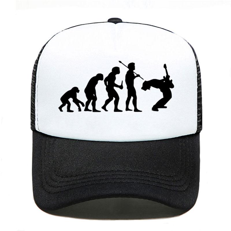 Funny Guitarist Baseball Cap Evolution Of A Music Rock Guitar Musician Band Metal Parent-child Hats Mesh Visor Outdoor Sun Hat