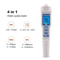 4in1 Waterproof pH/EC/TDS Temperature Meters Digital Water Quality Monitor for Swimming Pools Drinking Water Aquariums Backlight