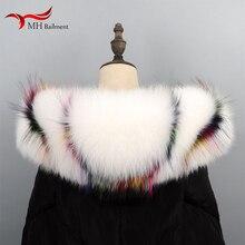 Негабаритный воротник из натурального Лисьего меха, зимний женский Лисий плюс енотовый мех, шарфы женские модные роскошные брендовые длинный шарф шаль