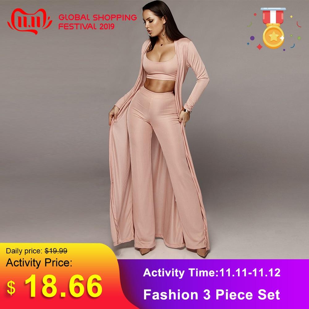 Women Knitted 3 Piece Set Spaghetti Strap Crop Top High Waist Pant Long Sleeve Cardigan Overcoat Suits Belt Autumn Streetwear