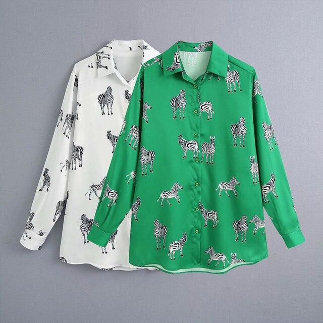 Bluzka 2020 za ten sam akapit koszula z klapą z długimi rękawami nadruk zwierzęta satyna jedwabna koszula z teksturą fashion top damski bb2556
