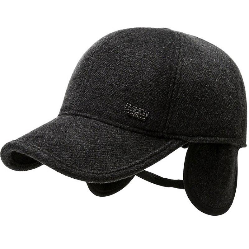 HT3737 Men Winter Cap Thick Warm Baseball Hats with Ear Flaps Male 6 Panels Wool Dad Hat Windproof Outside Snapback Baseball Cap