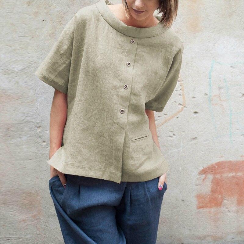 Summer Tops Women Vintage Linen Blouses Short Sleeve Buttons Shirts Patchwork Casual Loose Blusas Feminina 2019