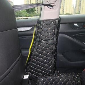 Image 1 - PU Leather Car Seat Belt Protective Pad Crash Mat Pillar Anti Kick Mat Covers For Honda Accord 10th 2018 Interior Accessories