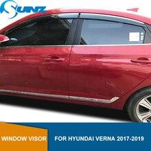 Yan pencere saptırıcı Hyundai Verna 2017 için 2018 2019 Sedan pencere Visor havalandırma tonları güneş yağmur saptırıcı muhafızları SUNZ