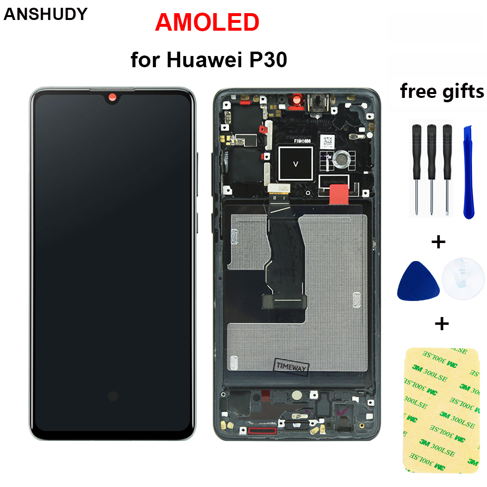AMOLED for Huawei <font><b>P30</b></font> <font><b>LCD</b></font> Touch Screen Digitizer Assembly ELE-L29 ELE-L09 ELE-AL00 ELE-L04 Display with frame Replacement Parts image
