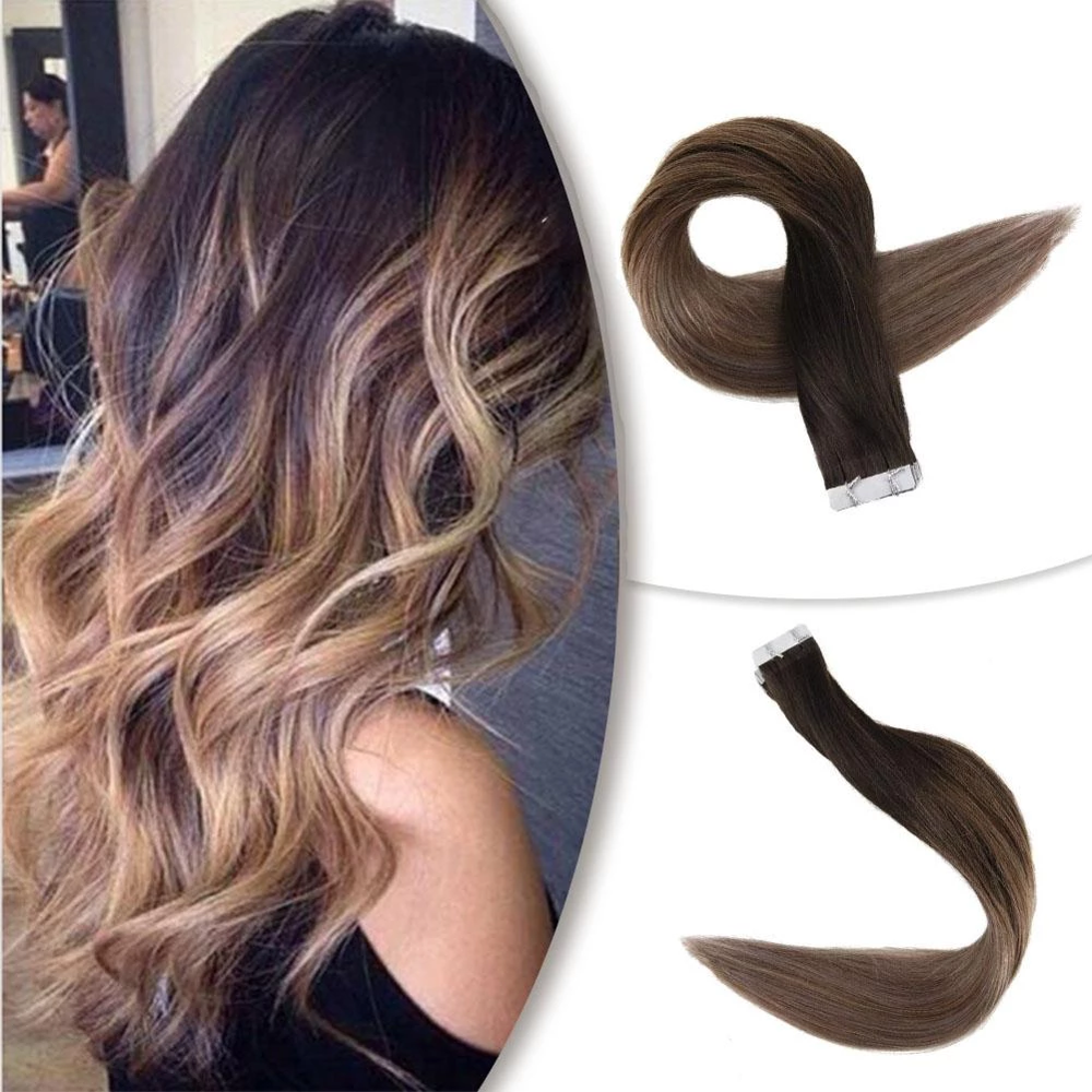 Full Shine Ombre Color  2.5g Per Piece 40 Pieces 100% Real Remy Human Hair Balayage Hair Tape In Hair Extensions Brown Blonde