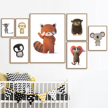 Fox Penguin Koala Sloth Lemur Bear Animals Nordic Posters And Prints Wall Art Canvas Painting Pictures Baby Kids Room Decor