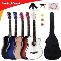 41/38 pouces guitare acoustique pour débutants ensembles de guitare avec Capo choisit 6 cordes guitare tilleul Instruments de musique AGT166