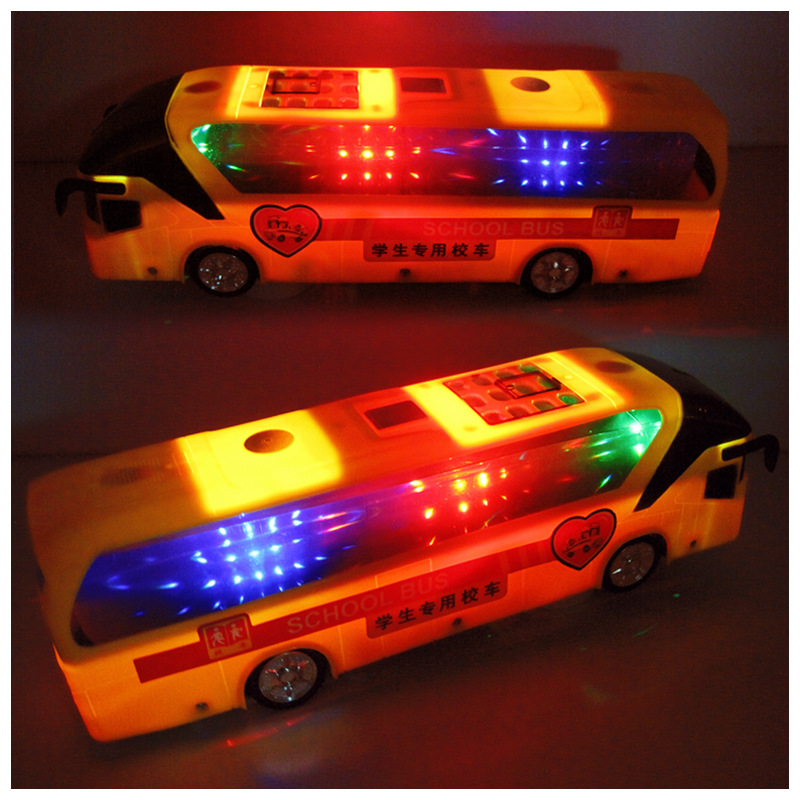 Stall Toy Children Model Toy Shining Universal Music 4D Bus Educational Toy Electric School Bus