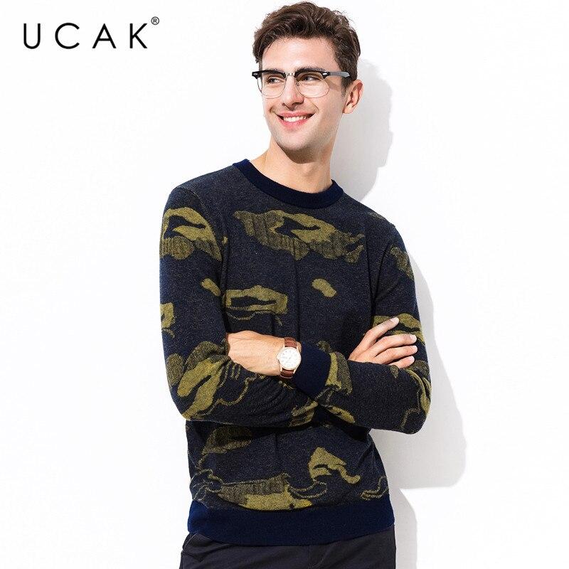 UCAK Brand 100% Merino Wool Sweater Men Streetwear Cloud Pattern Pull Homme Autumn Winter Pullover Men Cashmere Sweaters U3078