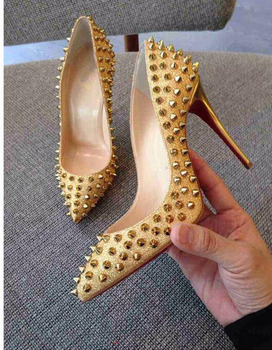 New Luxury Women Shoes High Heel Rivets Pumps Red Bottom Pointed Toe Studded Full Spikes Ladies Sexy Wedding Shoes 2019 new spring autumn women pumps high thin heel metal pointed toe sexy ladies bridal wedding women shoes white high heels