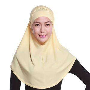 Image 4 - Женский однотонный мусульманский хиджаб Amira из 2 предметов, мягкий хлопковый эластичный головной шарф с внутренней трубкой, капюшон