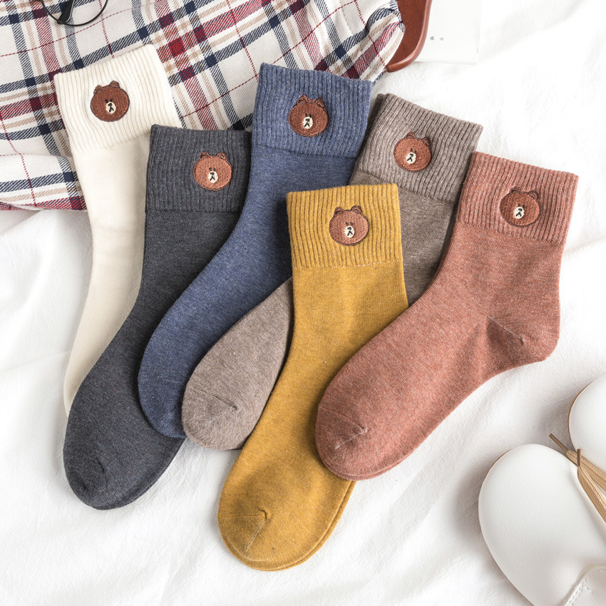 Cartoon Bear Embroidery Cotton Socks Female Autumn And Winter New Product Tube Socks Japanese College Wind Female Socks