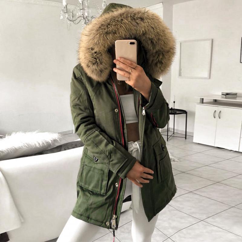 Misswim décontracté zip grand col de fourrure parka manteau femmes 2019 automne hiver confortable poche Parkas veste Hoodies dames Parkas streetwear