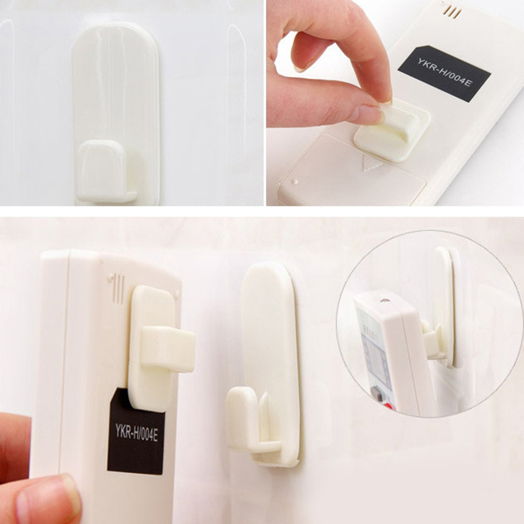 Plastic Hooks 2 pairs(4pcs) Sticky Hook Set TV Air Conditioner Remote Control Key Practical Wall Storage Holder Strong Hanger