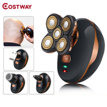 5-Floating-Heads Razors-Hair-Clipper Electric-Shaver Costway Rechargeable Men Nose Ear