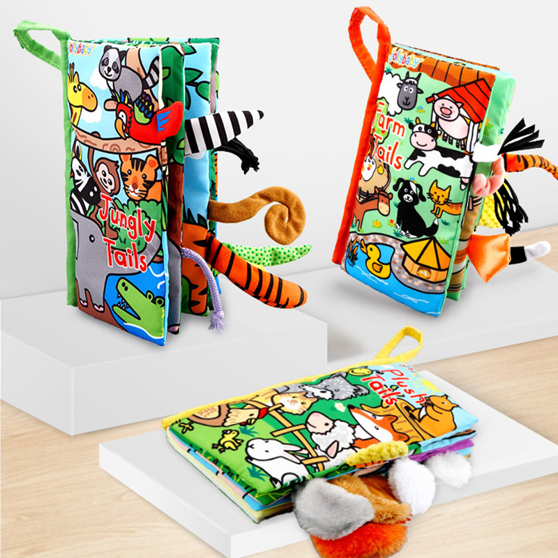 Baby Cloth Books Toys Cute Soft Animal Tails Toddler Infant Development Children Early Learning Educational Activity Books Toy