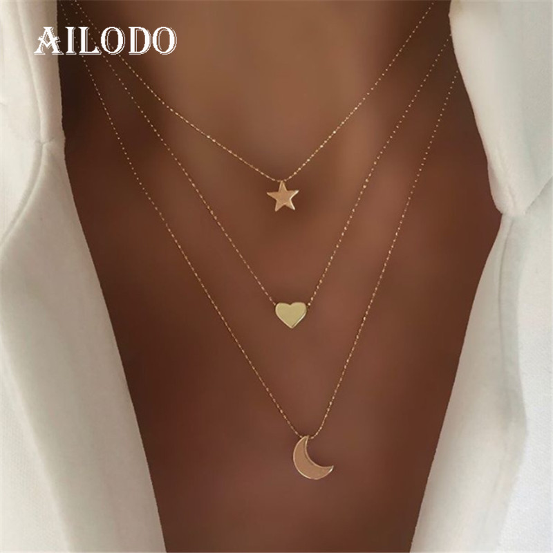 Ailodo Three Layers Moon Star Heart Pendant Necklace For Women Gold Color Statement Necklace Fashion Jewelry Girls Gift 19NOV72