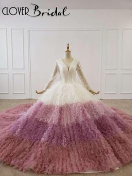 Yüksek kalite beyaz + tozlu pembe + mor renkli kek etek vestido de noiva casamento 2020 manga longa свадебное платье платье