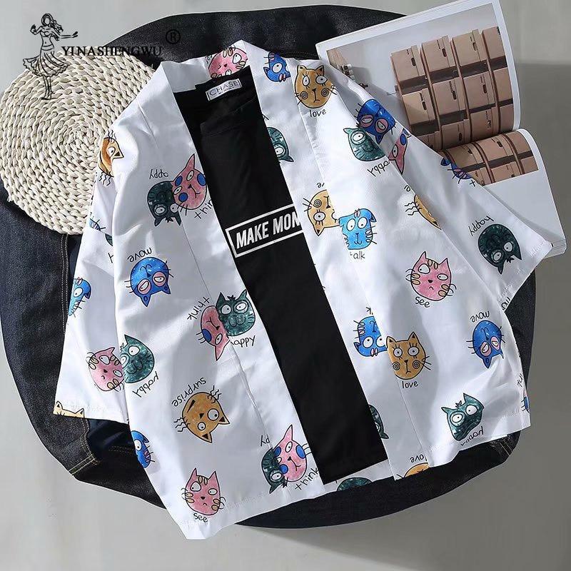 Пара кимоно юката повседневное японское пальто Мужская рубашка Harajuku кардиган японское кимоно Азиатский Косплей Костюм Блузы защитят от со...