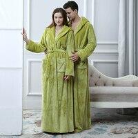Women Men Long Flannel Coral Fleece Kimono Hooded Bathrobe Solid Bridesmaid Bath Robe Bride Dressing Gown for Wedding Sleepwear
