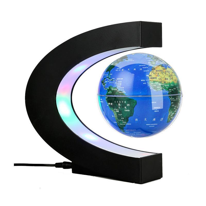 4 Inch LED Electronic Magnetic Levitation Floating Globe World Map Antigravity LED Night Light Home Decor Novelty Birthday Gift