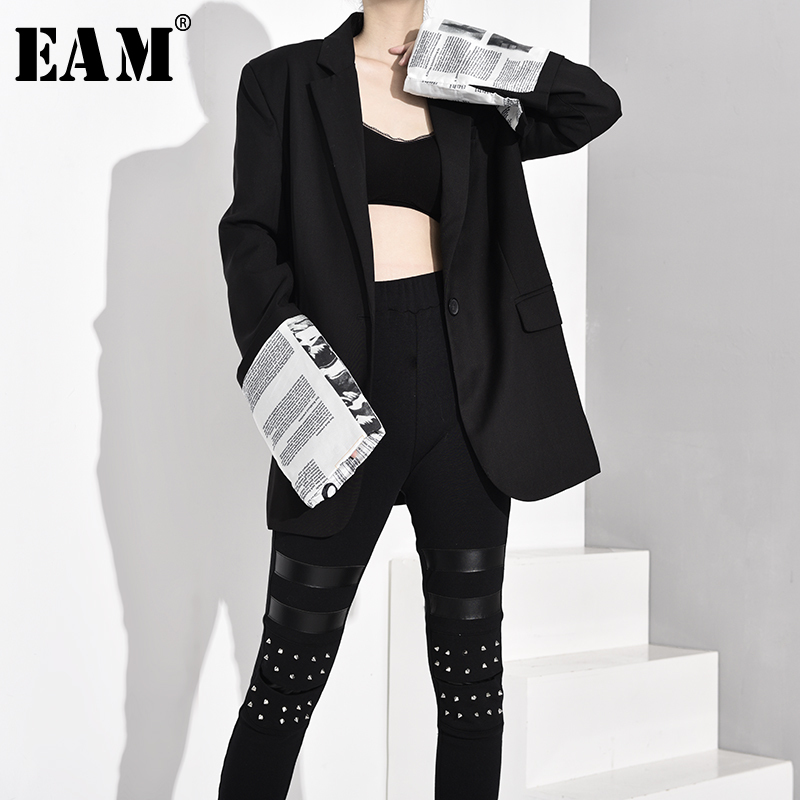 [EAM]  Women Black Cuff Printed Split Blazer New Lapel Long Sleeve Loose Fit  Jacket Fashion Tide Spring Autumn 2020 JQ4980