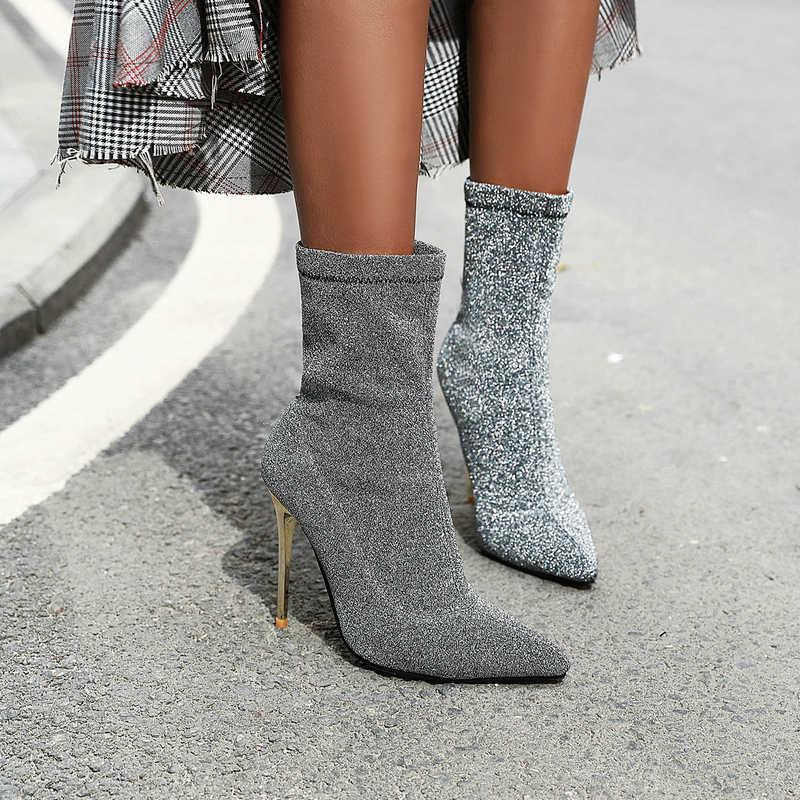 Seksi Streç yarım çizmeler Kadınlar için Yüksek Topuklu Sivri Burun Çorap Sonbahar Kış Leopar Siyah Gümüş Çizmeler Dropshipping