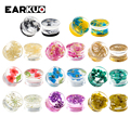 EARKUO Newest Fashion Flower Acrylic Ear Plugs Gauges Tunnels Expanders Piercing Body Jewelry Earring Stretchers One Pair 8-16mm